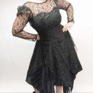 Vintage 80's Prom Dress Lace Puff Sleeves Gold